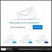 image of newsletter  - Light Subscribe to newsletter form with white background and button in 4 cold tones - JPG