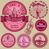 picture of ice cream parlor  - set of vector labels with ice cream for packing - JPG