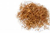 foto of tobacco leaf  - pile of Chewing tobacco on white background - JPG