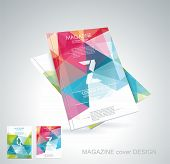 image of parallelepiped  - Magazine cover with pattern of geometric shapes texture with flow of spectrum effect - JPG