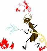 stock photo of fire ant  - ant fireman extinguish a fire by water - JPG