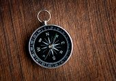 pic of longitude  - Compass on a wood background close up - JPG
