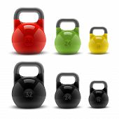 stock photo of kettlebell  - Collection of realistic classic kettlebells isolated on white background - JPG