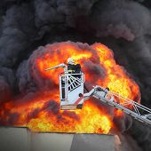 pic of firefighter  - Firefighter and burning house - JPG