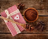 image of cocoa beans  - Homemade chocolate using cocoa powder and cocoa beans - JPG