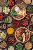 picture of fenugreek  - Large herb and spice selection in bowls - JPG