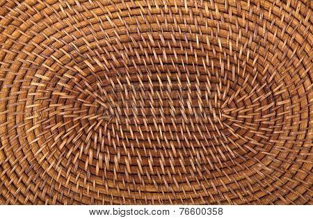 Closeup Of Traditional Woven Grass Mat In Circular Pattern