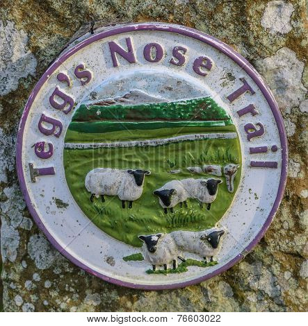 Teggs Nose Trail Sign At Teggs Nose Country Park On The Edge Of The Peak District, Uk