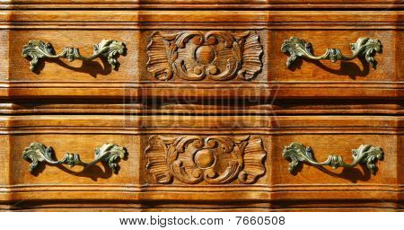 Fragment Of Floral Woodcarving Furniture