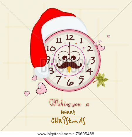 Stylish clock decorated with Santa cap and funny face showing midnight time for Merry Christmas celebrations.