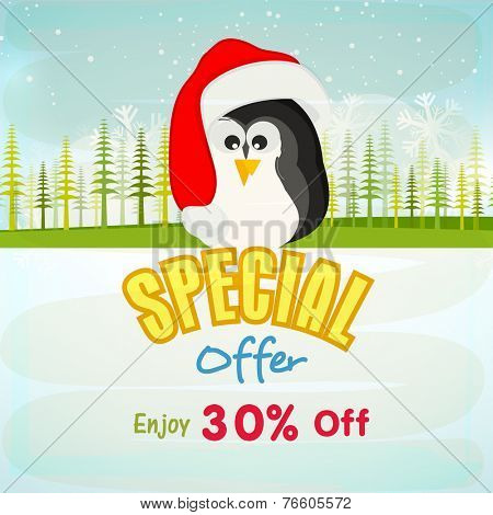 Merry Christmas special offer poster, banner or flyer with cute penguin in Santa cap on snowflakes and fir trees decorated nature background.
