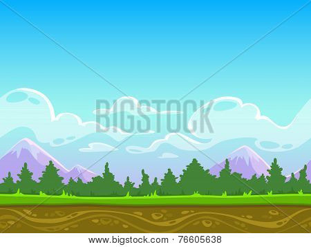 Seamless cartoon nature landscape