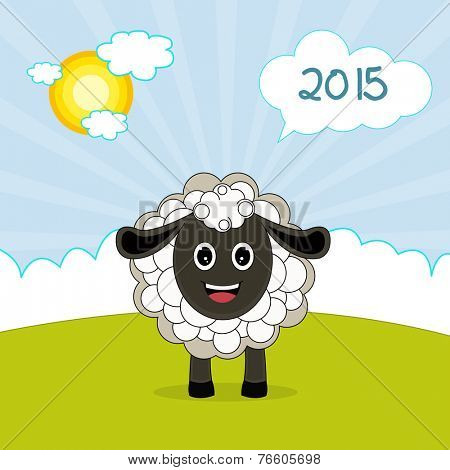 Happy New Year 2015 celebrations greeting with cute sheep on nature view background, Year of the Sheep concept.