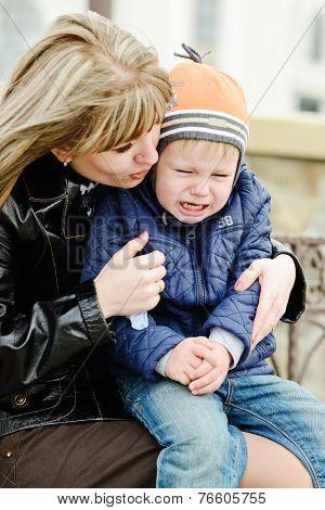 Mother Calming Son