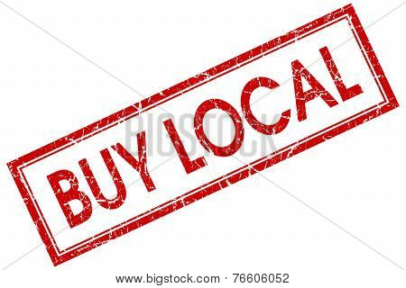 Buy Local Red Square Stamp Isolated On White Background