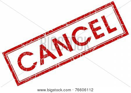 Cancel Red Square Stamp Isolated On White Background
