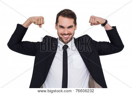 Happy businessman in suit cheering on white background