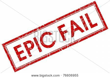 Epic Fail Red Square Stamp Isolated On White Background