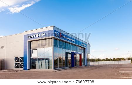 Samara, Russia - August 30, 2014: Office Of Official Dealer Datsun. Datsun Is An Automobile Brand Ow
