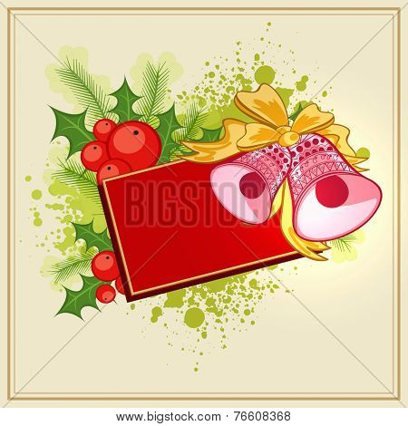 Merry Christmas celebrations with blank post card and jingle bells on mistletoe and fir leaves decorated background.