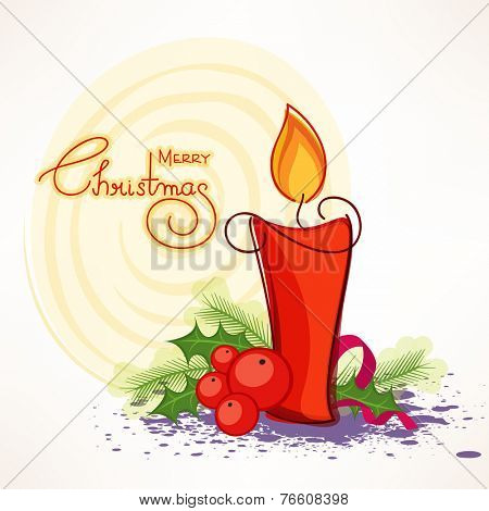 Merry Christmas celebrations greeting card design decorated with stylish text, illuminated candle and mistletoe on creative background.