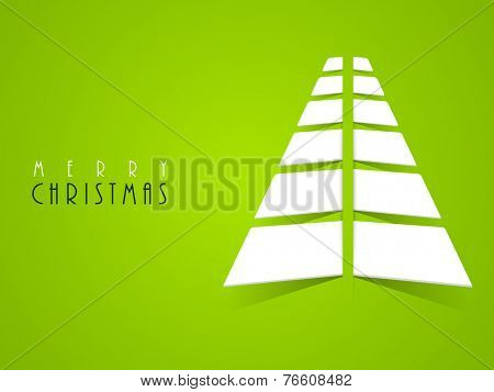 Merry Christmas celebration poster or banner with stylish X-mas tree on green background.