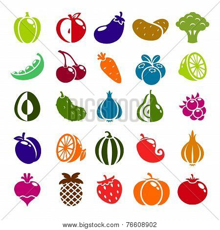Fruits, berries and vegetables color icons