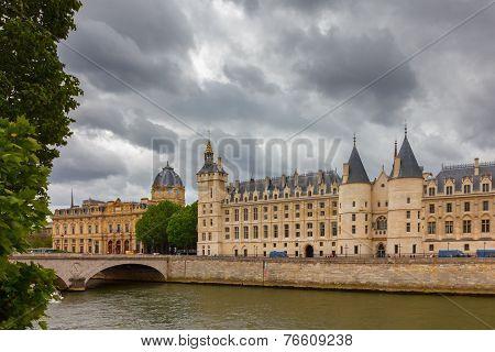 River Seine And The Conciergerie In Paris, France