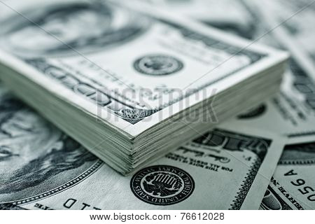 the background of several us dollars