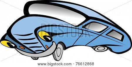 Funny old blue car cartoon. Vector illustration