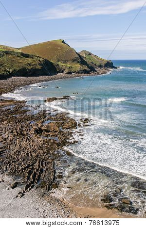 Coastline Near Crackington Haven In North Cornwall, Uk.  Cam Beak Headland.