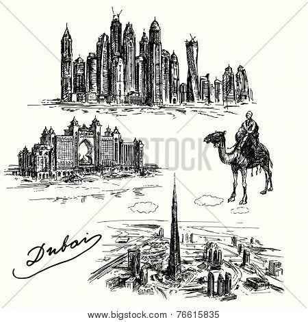Dubai - set of hand drawn illustration
