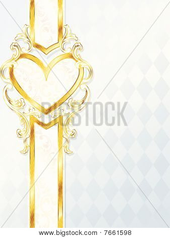 Vertical rococo wedding banner with heart emblem