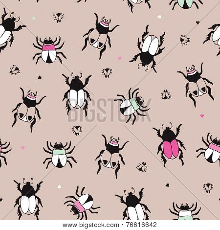 Seamless little bugs insects and beetle creepy creature illustration background pattern in vector