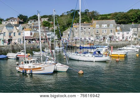 Yachts And Motor Boats Moored In Padstow Harbour.