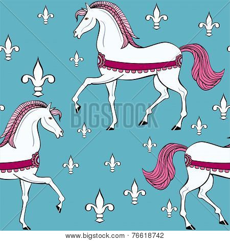 Seamless Pattern With White Horses