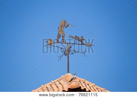 Weathervane On A Roof Top Showing Wind Direction