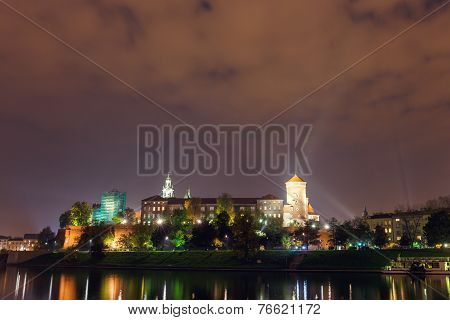 Night View Of Wawel Castle In Cracow, Poland.