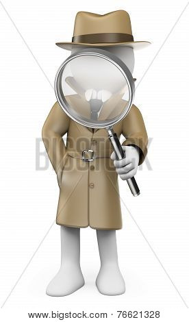 3D White People. Detective. Private Investigator