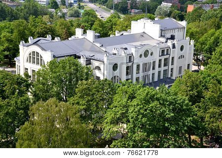 View of the park and historical Art Nouveau building in Riga