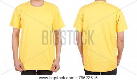 Blank White T-shirt Set On Man