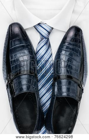 Classic Mens Shoes, Tie And  White Shirt