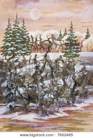 Fur-trees On A Rock