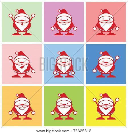 Santa graphic with happy and other emotions
