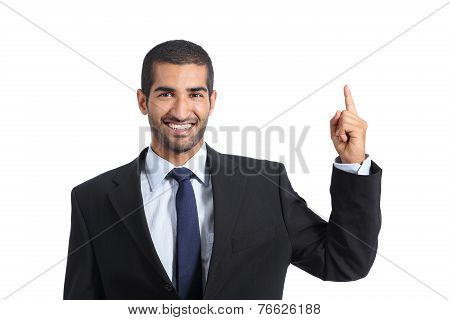 Arab Business Man Promoter Introducing And Pointing A Blank Product