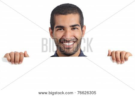 Arab Happy Man Holding A Blank Banner