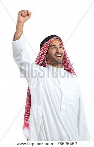 Arab Saudi Man Euphoric Raising Arm