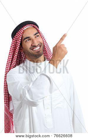 Arab Saudi Promoter Man Presenting Pointing At Side