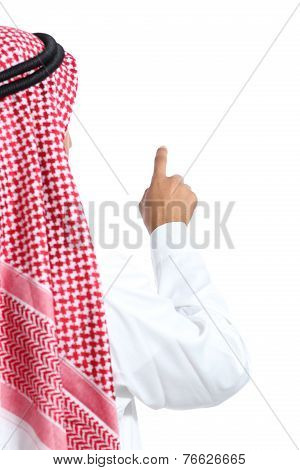Back View Of An Arab Saudi Emirates Man Selecting In The Air