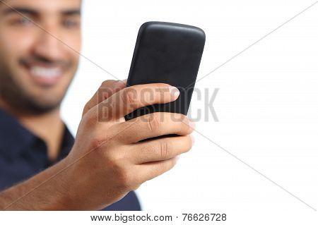 Closeup Of A Man Hand Using A Smart Phone